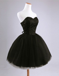 Wholesale 2016 New Sexy Ball Gown Strapless Beading Lace Short Mini Graduation Dresses Bridesmaid Dresses Prom Party black white red R