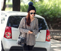 Wholesale 2013 new roll up hem ultralarge bulb Pentagram wool knitted hat Winter Women accessories five pointed star pompon