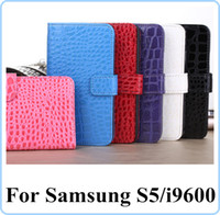 aligator leather - For Samsung Galaxy S5 SV I9600 Croco Crocodile Aligator Snake Leather Wallet Pouch credit cards slot Money Stand Holster holder Skin case