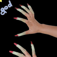 Wholesale Noctilucent Zombie Witch Fingernails sleeve Carnival Festival Halloween Party Dance Dress up Glow in dark Fingers sleeve pieces set