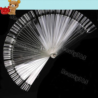 Wholesale 50pcs False Nail Art Board Tips Stick Polish Foldable Display Practice Transparent Fan Clear