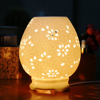 Wholesale Essential oil light bulb dimming aromatherapy Fragrance Lamps plug in essential oil aromatherapy furnace cutout white ceramic