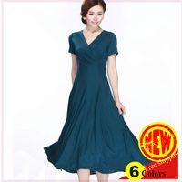 silk dress - 2015 Summer New colors milk silk women s sexy V neck XL XL plus size long dresses