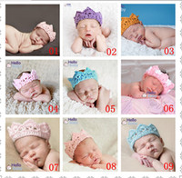 Wholesale knitted Crochet baby Princess prince Crown Tiara Headband Newborn Photography Prop