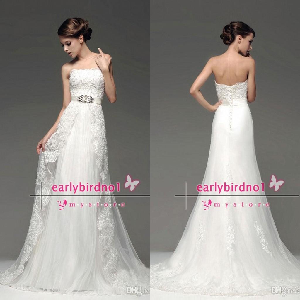 2014 Elegant Wedding Dresses Strapless Appliqued A Line