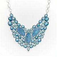 Wholesale Huge blue heart TOPAZ Quartz Sea bed stone Charm Jewelry Silver Necklace NL