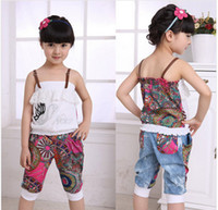 Wholesale NEW Summer child baby girl set Spaghetti Strap t shirt harem pants children clothing sets casual sport suits