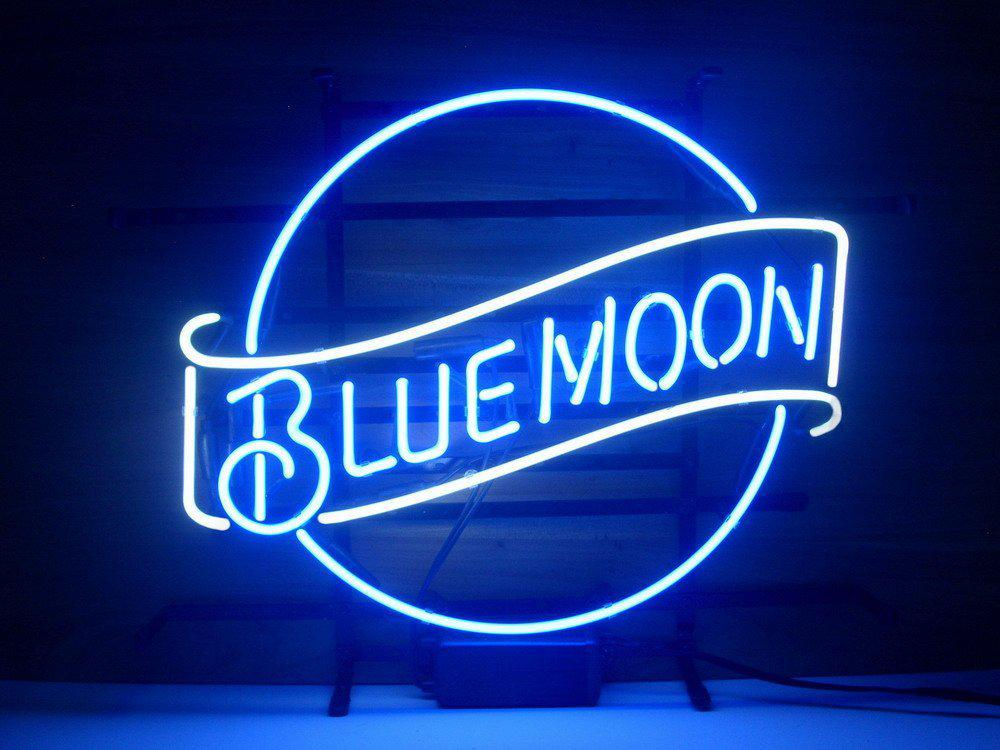 2017 New Blue Moon Real Glass Neon Light Sign Home Beer