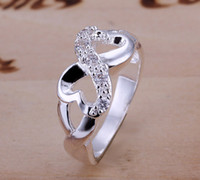 Wholesale Sterling Silver Filled Infinity Design Heart Ring new fashion jewelry silver rings silver filled infinity heart ring