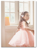 Wholesale Girls princess dress Fashion korean children Lace tulle Sleeveless Dress kids tutu party dress beige pink