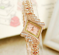 Wholesale 2014 Luxury Women Watches Ladies Wrist Watches Gorgeous Rhinestones Rose Gold Girl Women Bracelet Wrist Watch XP15