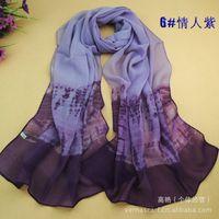 ladies scarf - Georgette Double colors ladies fashion chiffon printing scarves soft scarf shawl