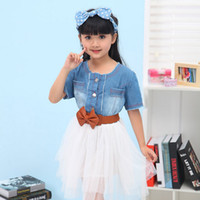 TuTu Summer Pleated Cheap Sale 2014 Summer Baby Girl Dress Kids Round Neck Denim Dress Children High Quality Cotton Baby Princess Dress Tutu With Belt