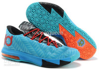 Low Cut Men PU Wholesale - Hotsale Men Basketball Shoes New Zoom KD VI Low Cut Sports Shoe 2014 Basket Ball Boots Running Cleats Blue Grey with Red Cheap D