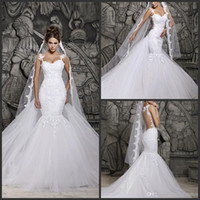 Wholesale New Backless Wedding Dresses Scoop Mermaid Detachable Chapel Train Beaded Lace So Elegant Bridal Gowns Hassan Mazeh W