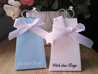 Favor Boxes White Paper New Arrival Hot 100 pcs White Blue Diamond Ring Style Wedding Favor Boxes Gift Candy Box