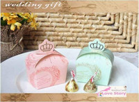 Favor Boxes Pink Paper Lowest Price Green Pink Brand New Imperial crown candy box Wedding Favor Boxes
