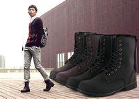 Half Boots Snow Boots Men Retro Combat boots Winter England-style fashionable Men's short Black
