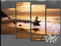 Cheap Free shipping 100% hand-made 4 Panel High Quality Golden Sunset While Ocean Oil Painting on canvas modern wall art home decor
