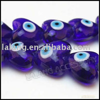 Wholesale 3 strings Royal Blue Heart Fancy Turkey Evil Eye Lampwork Glass Charms Loose Beads x20x12mm Fit Jewelry DIY