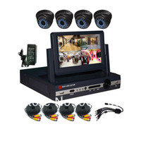 Wholesale 4CH LED DVR Kit with Dome camera and all the cable ch CCTV System ch DVR Kit ch D1 DVR Security Camera System
