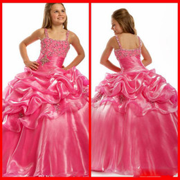 Top selling Beautiful Ball Gown Hot pink Flower Girl Dresses Spaghetti Girl's Pageant Dresses Charming Party Dress