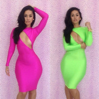 Wholesale 2014 New Arrival Fashion hot pink Green Bodycon Dress Sexy Backless bandage Celebrity dresses Party Evening Dresses S M L B07008