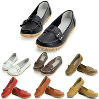 Wholesale New Fashion Women Buckle Detail Flat Driving Shoes Flats Slip Loafers Oxfords Colors Size Ex36