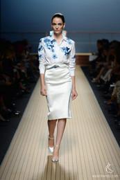 Wholesale Cotton embroidery shirt skirt luxury set office lady