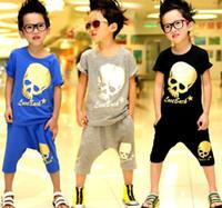 Wholesale 2014 new children s clothing skull T shirt pants boy suit XT