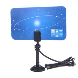 Wholesale Digital Indoor TV Antenna HDTV DTV HD VHF UHF Flat Design High Gain EU US Plug DHL V560