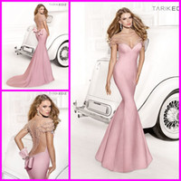 Reference Images Crew Satin Tarik Ediz 2014 New Sexy Baby Pink Sweetheart Sheer Back Mermaid Formal Evening Dress Gowns with Beads Celebrity Prom Dresses