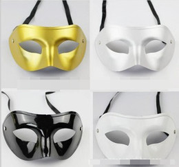 Wholesale Silver Gold White Black Man Half Face Archaistic Antique Classic Men Mask Mardi Gras Masquerade Venetian Costume Party Masks D2312