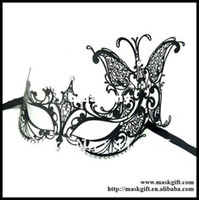Wholesale MA002 Beautiful Craftsmanship Venetian Style Black Laser Cut Metal Masquerade Masks