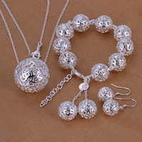 Bracelet,Earrings & Necklace african gift bags - 925 silver necklace bracelet earing set gift bag S110