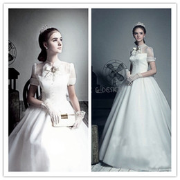 Wholesale YAA Vintage Audrey Hepburn High Neck Wedding Dresses vestido de noiva Organza Ball Gown Bridal Dresses New Arrival Custom Made