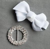 diamante buckles - 100pcs LO Rhinestone Buckle Diamante Crystal Slider Silver Wedding Invitation embellishment Cake Decoration