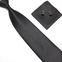 Wholesale Better quality Fashion Men s Necktie Tie Set solid Silk Business Ties Set Tie pair cuff links hankie