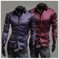 Casual Men Cotton Korean version of spring imitation silk shiny glossy fashion casual men cultivating long-sleeved shirt free shipping
