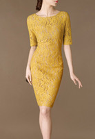Wholesale 2014 New Women s Clothings Fashion Dresses Yellow Full embroidery lace short sleeve Sexy Elegant women s work dresses