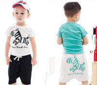 Wholesale Baby Set Boys Girls Clothing Sets Wooden Horse Printing Short Sleeve T Shirt Shorts Pants Set Kids Casual Outfits Jumpsuit New C1383