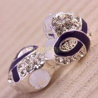 Wholesale 50Pcs European Silvery Crystal Rhinestone Purple Ribbon Big Hole Beads Awareness Fit Chain