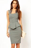 Casual Dresses Bateau Knee Length Elegant Modern Women Business Work Wear Dress Peplum Scuba Pencil Dress with Satin Inserts Neck L6215