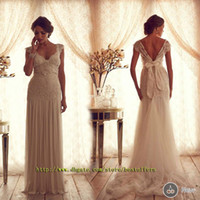 Cap vestido de casamento com mangas cintura queda rendas montado na saia Anna campbell gossamer coleção nupcial melissa do vintage chiffon verão
