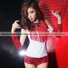 Wholesale 2014 new arrival nightclub bar girl DS siamese lead dancer costumes sexy sequined costumes dance one piece clothes