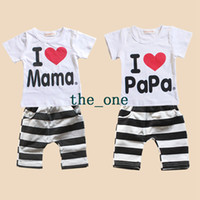 Cheap Unisex i love papa mama baby Best Summer 100% Cotton Cheap Clothing Sets