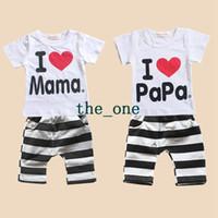 Unisex Summer 100% Cotton free shipping baby clothes i love papa mama baby set baby boys girls summer 2pcs baby clothes short sleeve t-shirt pants kids pajamas set