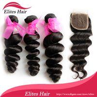 Brazilian Virgin Hair Loose Wave Natural colors 1b# , can be colored 5A Brazilian Virgin Hair Extension Loose Wave 1 pcs Top Lace Closure with 3pcs Brazilian Hair Bundle DHL Free Shipping 4pcs lot