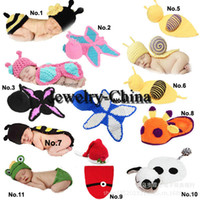 Boy Summer Newborn Hat Baby Infant Snai Frog Hatl Mouse Costume Crochet Knitted Hat Cap Girl Boy Diaper Dogs Mermaid Crochet Cotton Knit Custome Set