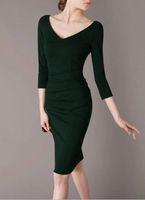 Casual Dresses V_Neck Knee Length 2014 New Women's Clothings Fashion Dresses Green 3 4 sleeve Sexy Deep V-Neck Elegant Slim women's work dresses W51